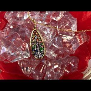 EFFY 14K Sapphire & Diamond pendant w/chain.